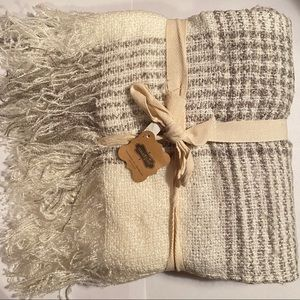 White Criss Cross Throw Blanket - MudPie